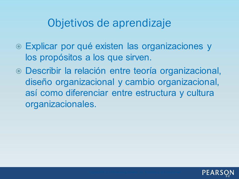 Explicar por qué existen las organizaciones y los propósitos a los que sirven. Describir la relación entre teoría organizacional, diseño organizaciona