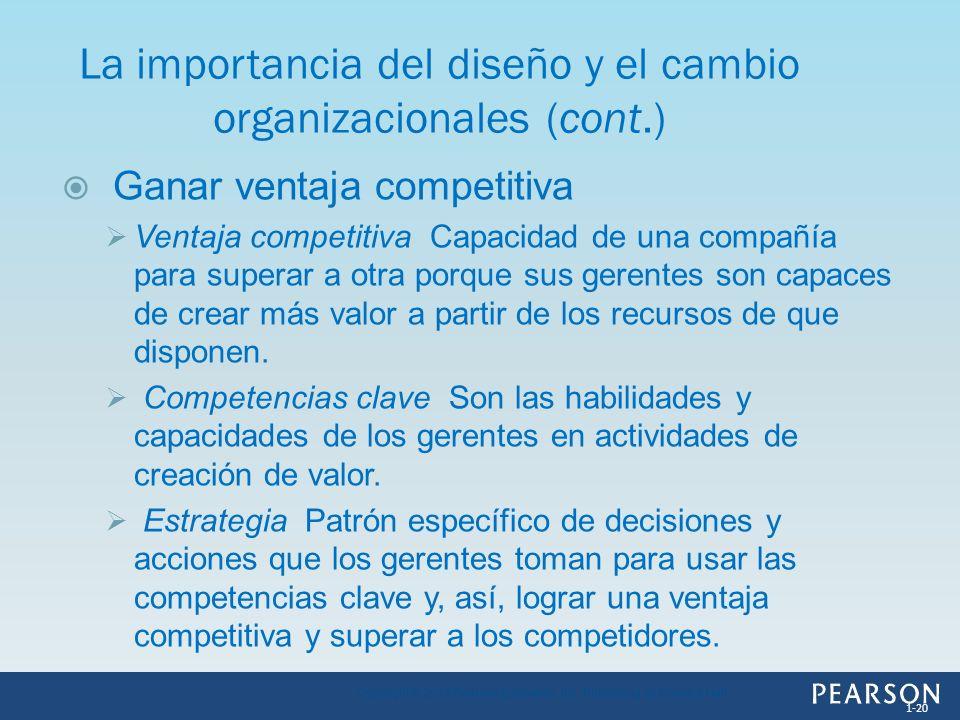 Ganar ventaja competitiva Ventaja competitiva Capacidad de una compañía para superar a otra porque sus gerentes son capaces de crear más valor a parti