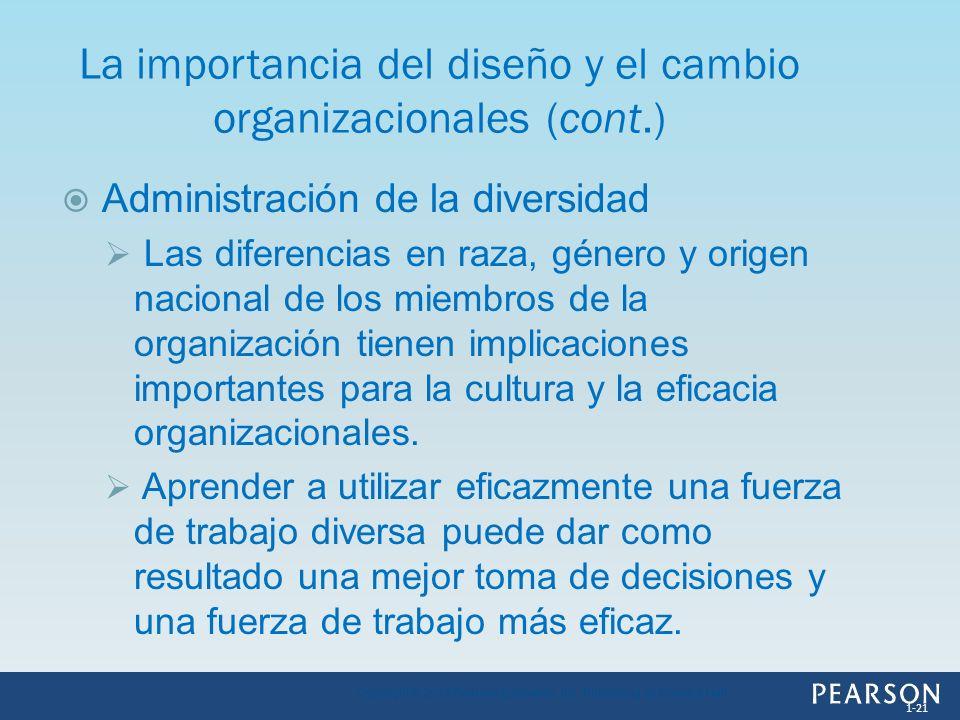 Administración de la diversidad Las diferencias en raza, género y origen nacional de los miembros de la organización tienen implicaciones importantes