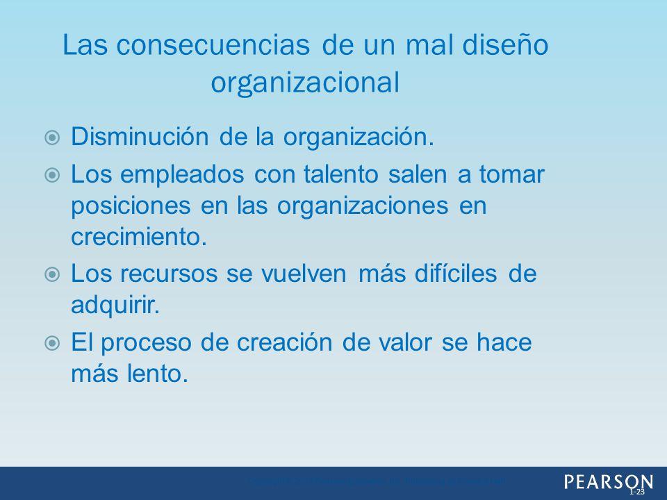 Disminución de la organización. Los empleados con talento salen a tomar posiciones en las organizaciones en crecimiento. Los recursos se vuelven más d