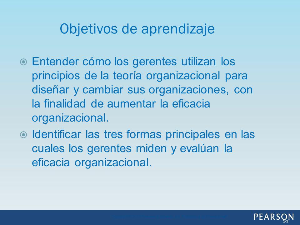 Entender cómo los gerentes utilizan los principios de la teoría organizacional para diseñar y cambiar sus organizaciones, con la finalidad de aumentar