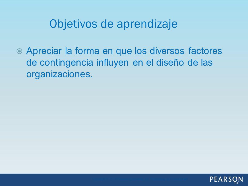 Apreciar la forma en que los diversos factores de contingencia influyen en el diseño de las organizaciones. Objetivos de aprendizaje 1-4 Copyright © 2