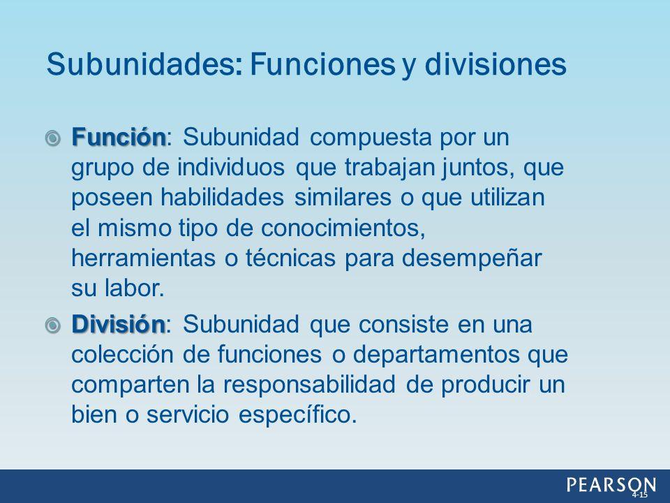 Función Función: Subunidad compuesta por un grupo de individuos que trabajan juntos, que poseen habilidades similares o que utilizan el mismo tipo de