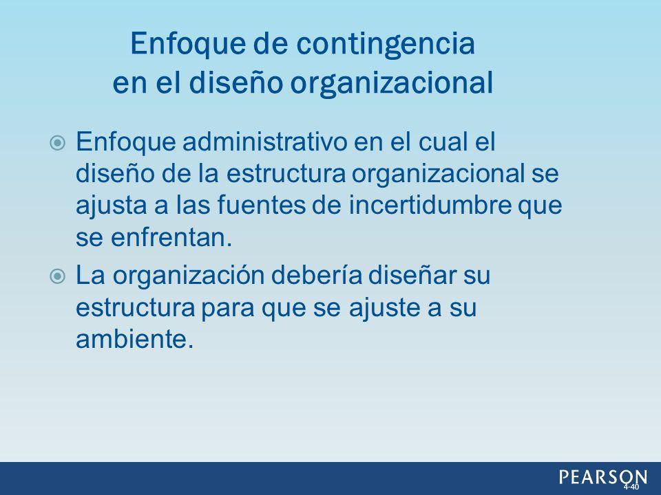 Enfoque administrativo en el cual el diseño de la estructura organizacional se ajusta a las fuentes de incertidumbre que se enfrentan. La organización