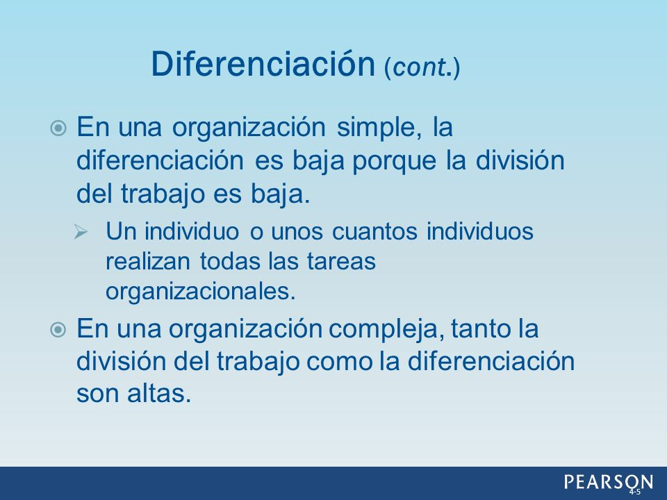 En una organización simple, la diferenciación es baja porque la división del trabajo es baja. Un individuo o unos cuantos individuos realizan todas la