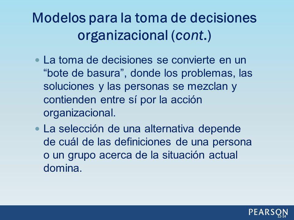 La toma de decisiones se convierte en un bote de basura, donde los problemas, las soluciones y las personas se mezclan y contienden entre sí por la ac