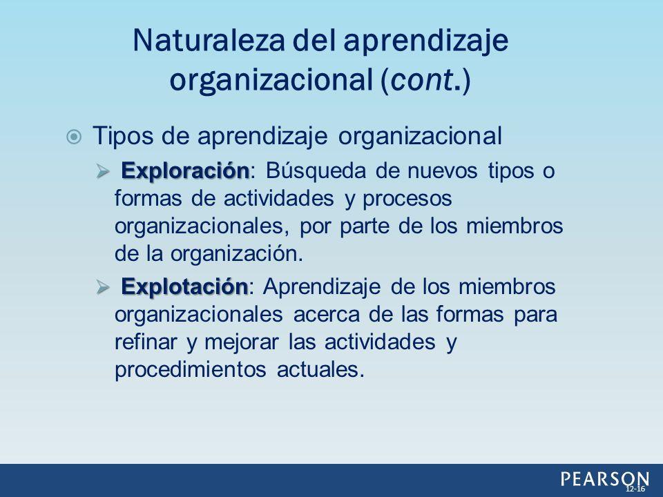 Tipos de aprendizaje organizacional Exploración Exploración: Búsqueda de nuevos tipos o formas de actividades y procesos organizacionales, por parte d