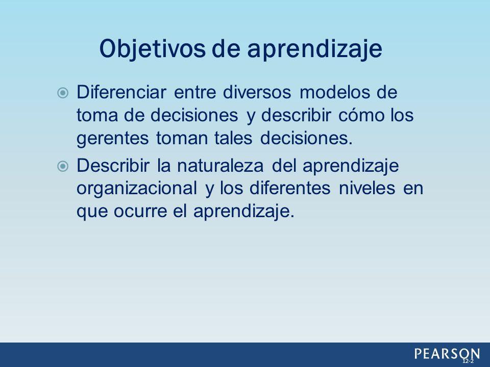 Diferenciar entre diversos modelos de toma de decisiones y describir cómo los gerentes toman tales decisiones. Describir la naturaleza del aprendizaje