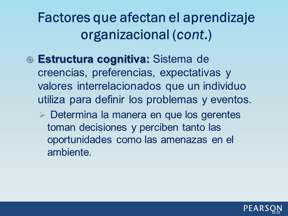 Estructura cognitiva: Estructura cognitiva: Sistema de creencias, preferencias, expectativas y valores interrelacionados que un individuo utiliza para