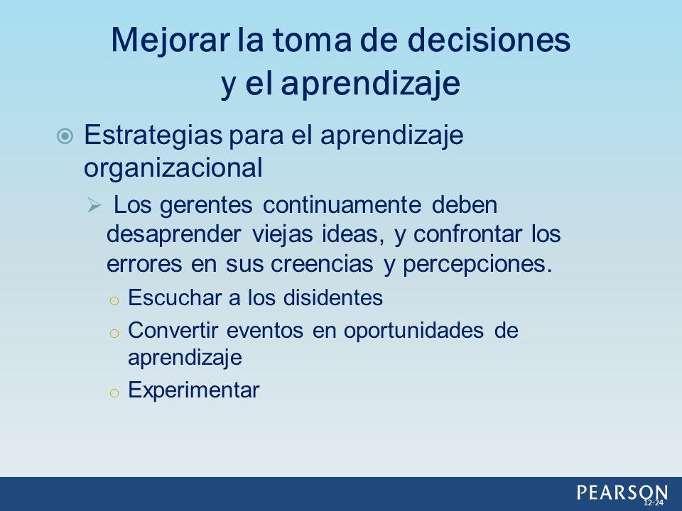 Estrategias para el aprendizaje organizacional Los gerentes continuamente deben desaprender viejas ideas, y confrontar los errores en sus creencias y