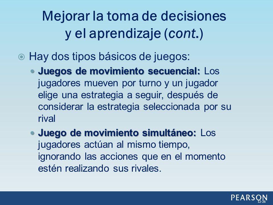 Hay dos tipos básicos de juegos: Juegos de movimiento secuencial: Juegos de movimiento secuencial: Los jugadores mueven por turno y un jugador elige u