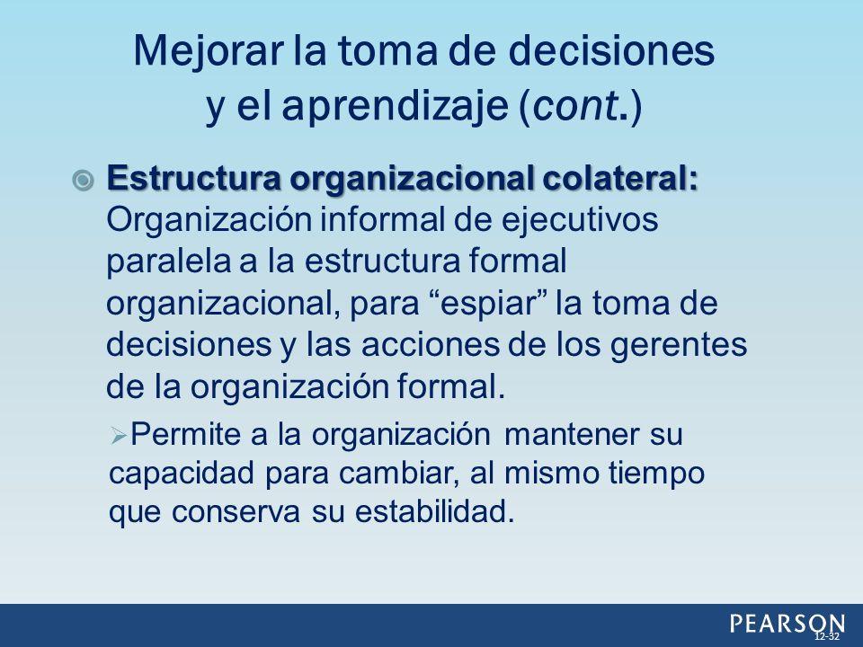 Estructura organizacional colateral: Estructura organizacional colateral: Organización informal de ejecutivos paralela a la estructura formal organiza