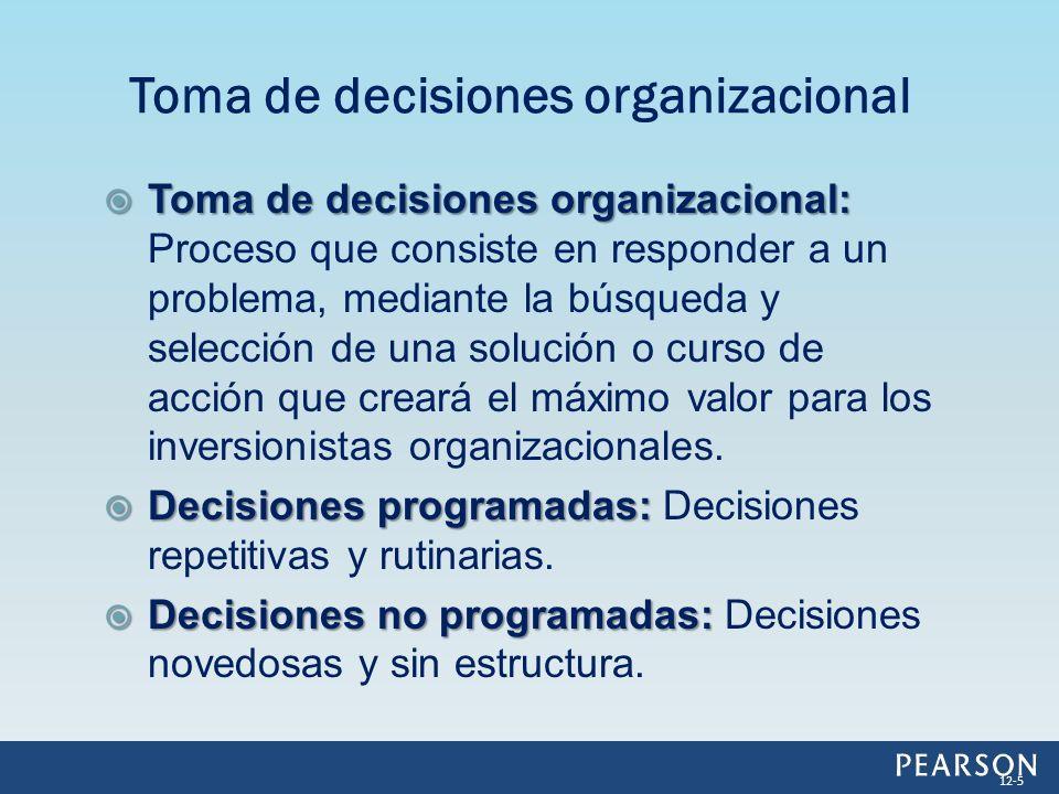 Toma de decisiones organizacional: Toma de decisiones organizacional: Proceso que consiste en responder a un problema, mediante la búsqueda y selecció
