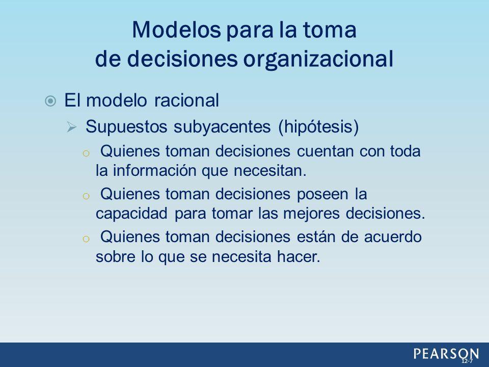El modelo racional Supuestos subyacentes (hipótesis) o Quienes toman decisiones cuentan con toda la información que necesitan. o Quienes toman decisio