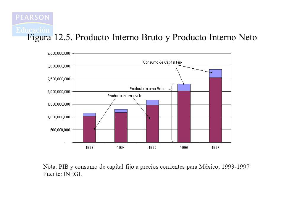 Figura 12.5. Producto Interno Bruto y Producto Interno Neto Nota: PIB y consumo de capital fijo a precios corrientes para México, 1993-1997 Fuente: IN