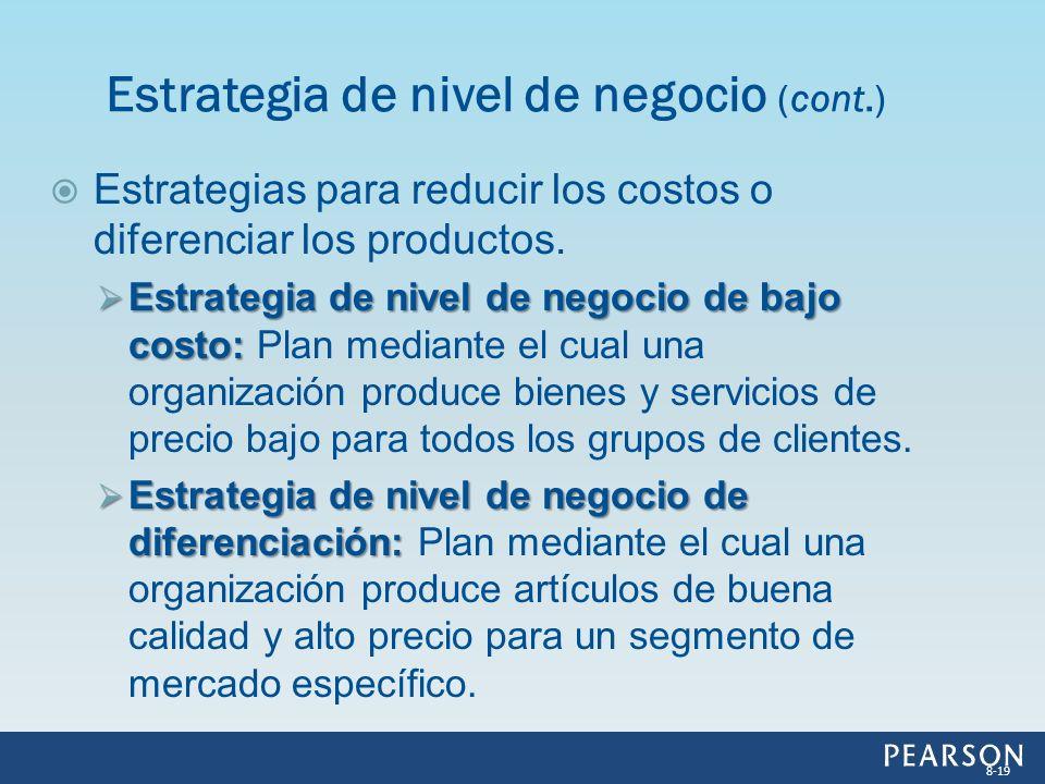 Estrategias para reducir los costos o diferenciar los productos. Estrategia de nivel de negocio de bajo costo: Estrategia de nivel de negocio de bajo