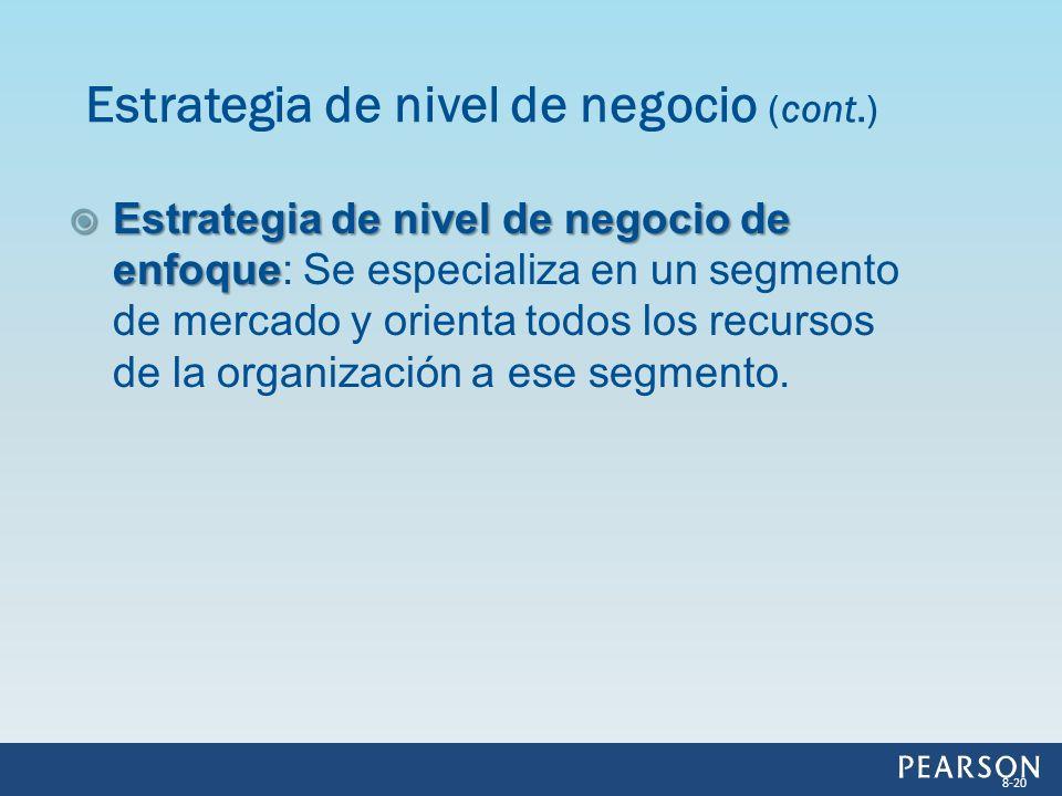 Estrategia de nivel de negocio de enfoque Estrategia de nivel de negocio de enfoque: Se especializa en un segmento de mercado y orienta todos los recu