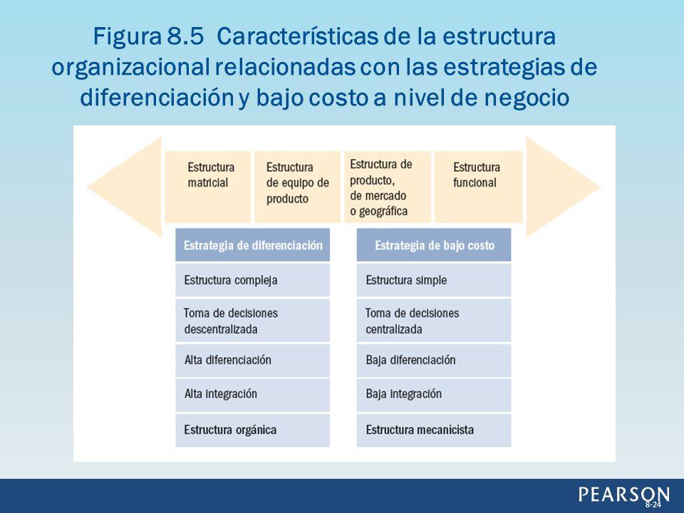Figura 8.5 Características de la estructura organizacional relacionadas con las estrategias de diferenciación y bajo costo a nivel de negocio 8-24