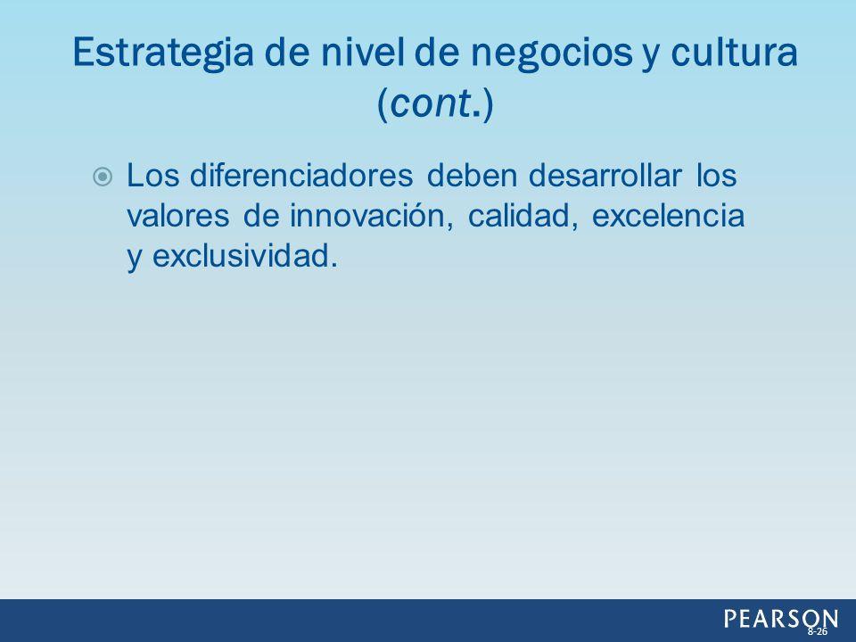 Los diferenciadores deben desarrollar los valores de innovación, calidad, excelencia y exclusividad. Estrategia de nivel de negocios y cultura (cont.)