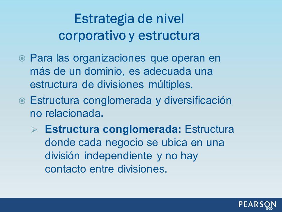 Para las organizaciones que operan en más de un dominio, es adecuada una estructura de divisiones múltiples. Estructura conglomerada y diversificación