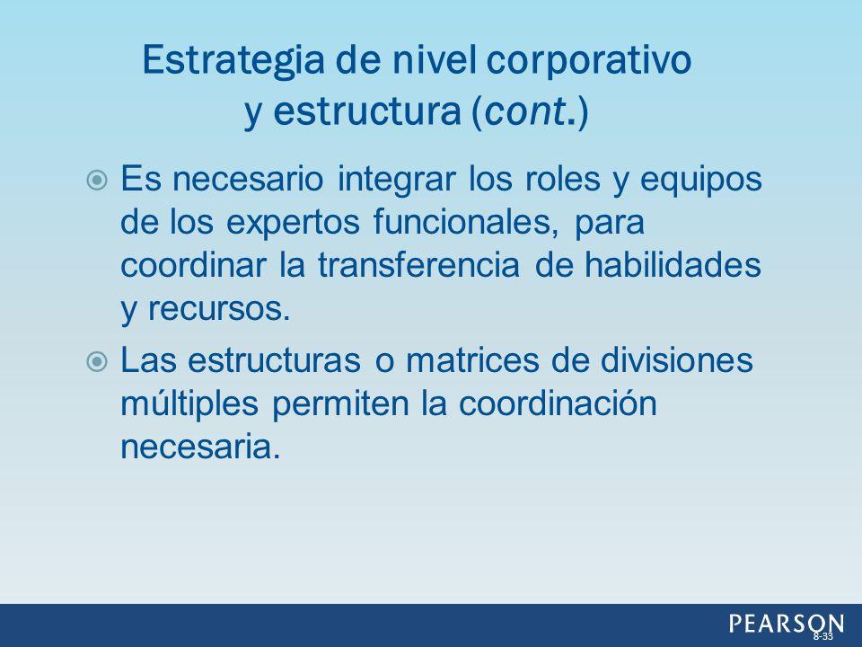 Es necesario integrar los roles y equipos de los expertos funcionales, para coordinar la transferencia de habilidades y recursos. Las estructuras o ma