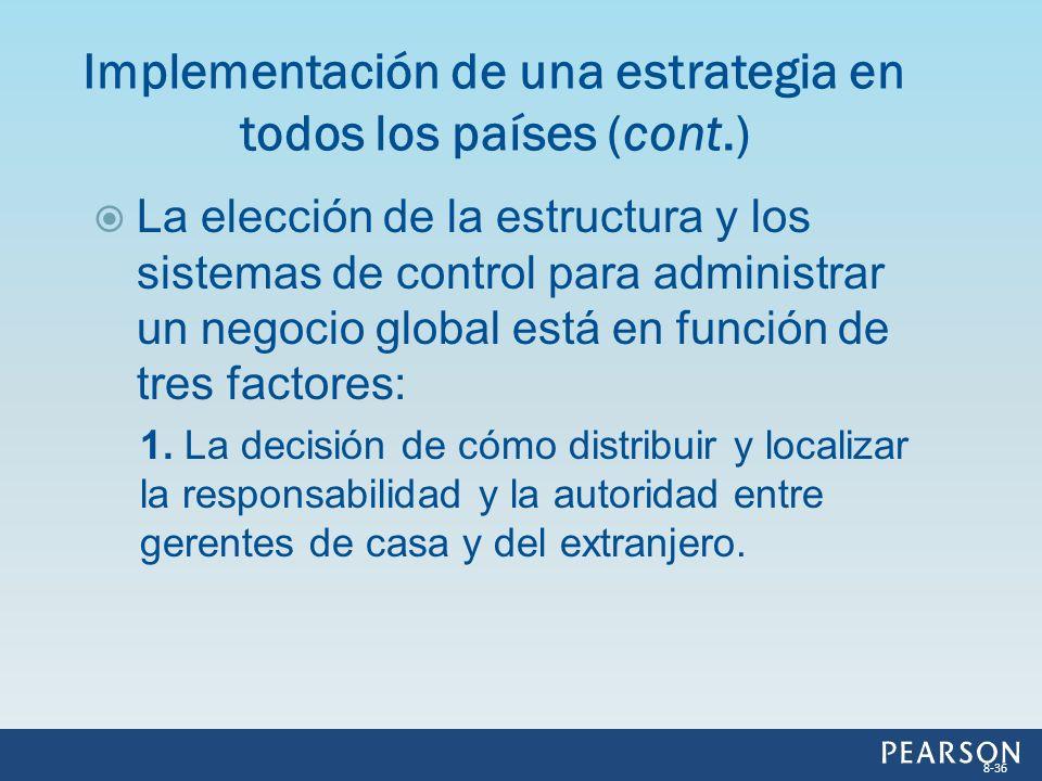 La elección de la estructura y los sistemas de control para administrar un negocio global está en función de tres factores: 1. La decisión de cómo dis