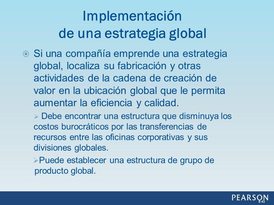 Si una compañía emprende una estrategia global, localiza su fabricación y otras actividades de la cadena de creación de valor en la ubicación global q