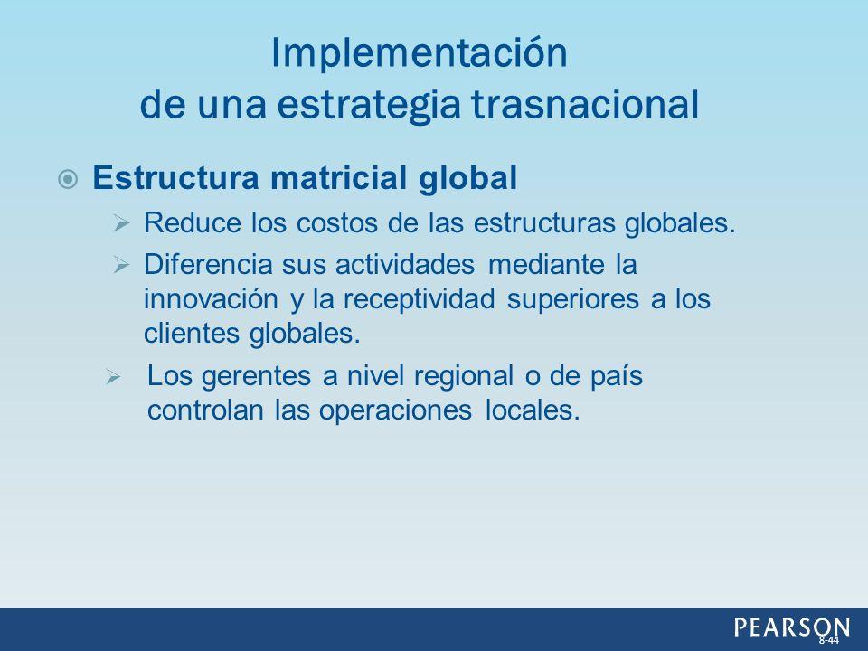 Estructura matricial global Reduce los costos de las estructuras globales. Diferencia sus actividades mediante la innovación y la receptividad superio