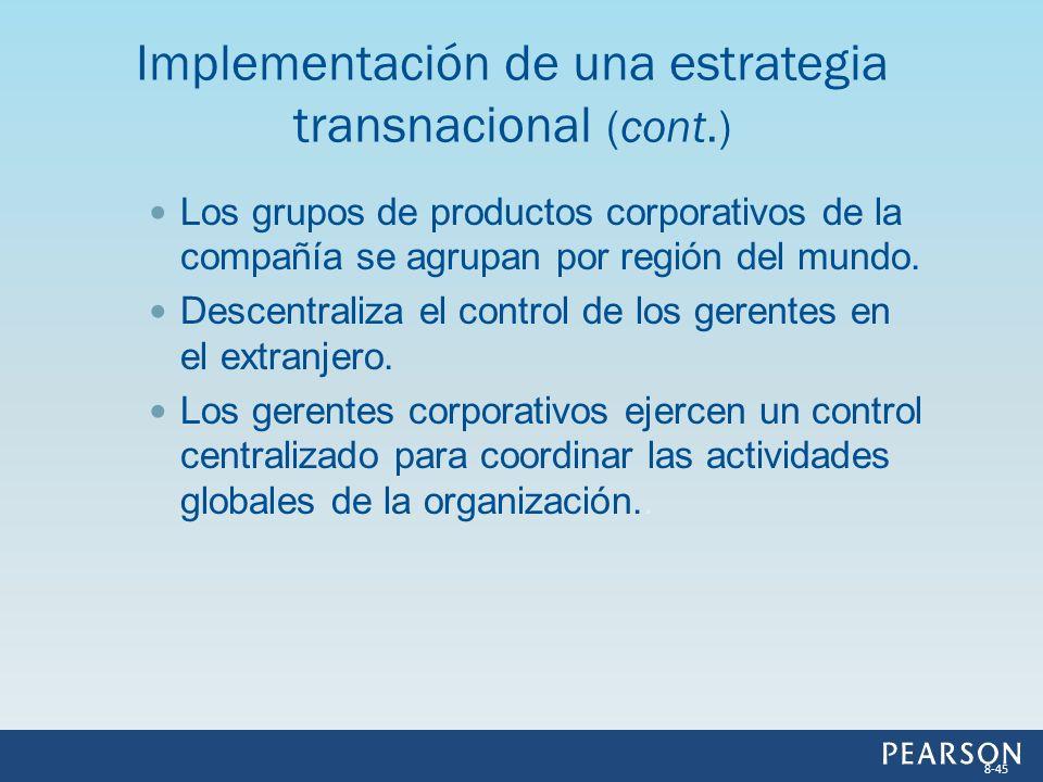 Los grupos de productos corporativos de la compañía se agrupan por región del mundo. Descentraliza el control de los gerentes en el extranjero. Los ge