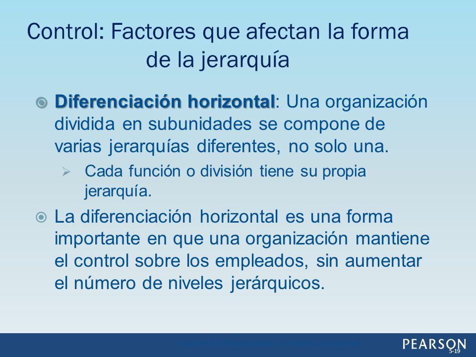 Diferenciación horizontal Diferenciación horizontal: Una organización dividida en subunidades se compone de varias jerarquías diferentes, no solo una.