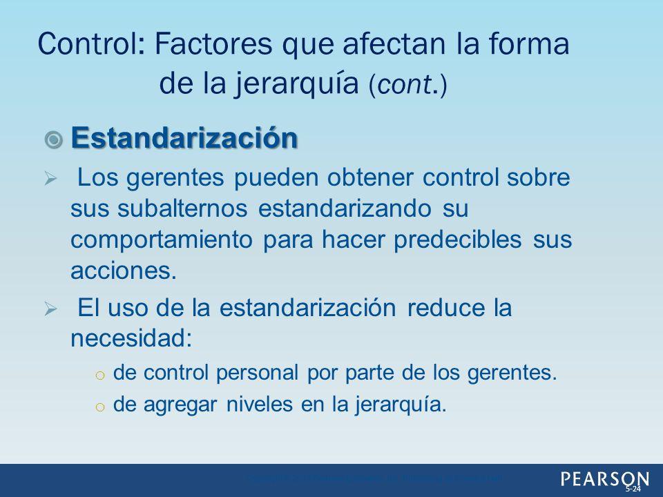 Estandarización Estandarización Los gerentes pueden obtener control sobre sus subalternos estandarizando su comportamiento para hacer predecibles sus