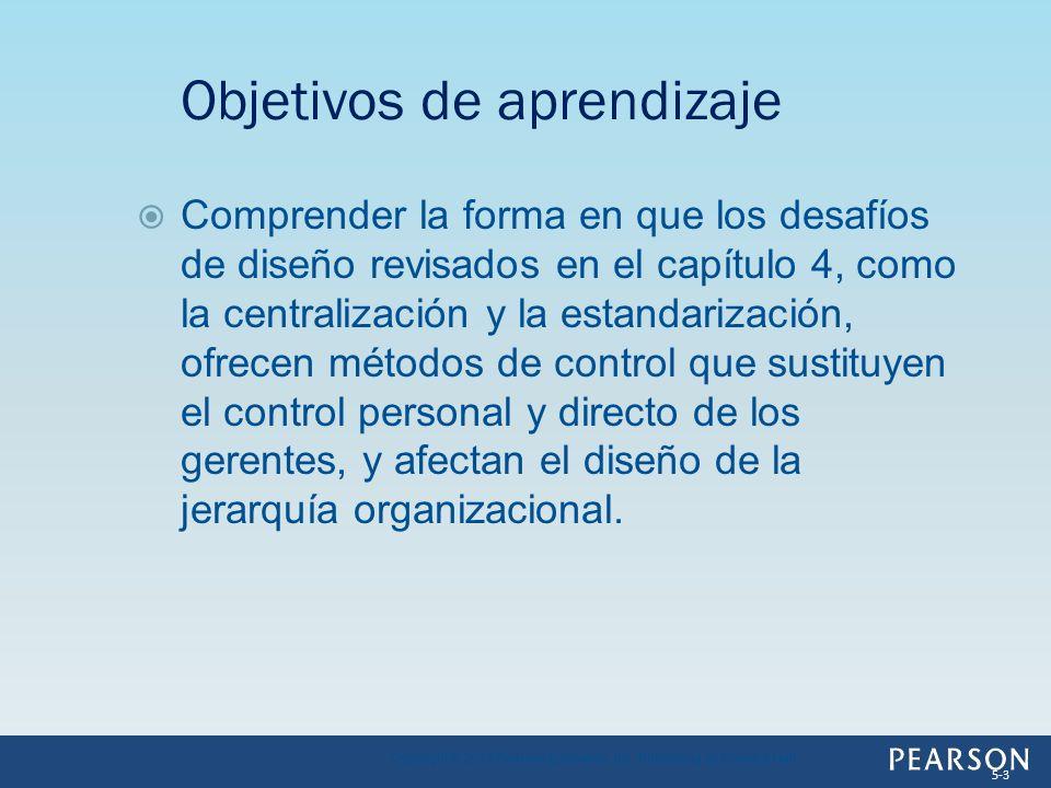 Comprender la forma en que los desafíos de diseño revisados en el capítulo 4, como la centralización y la estandarización, ofrecen métodos de control