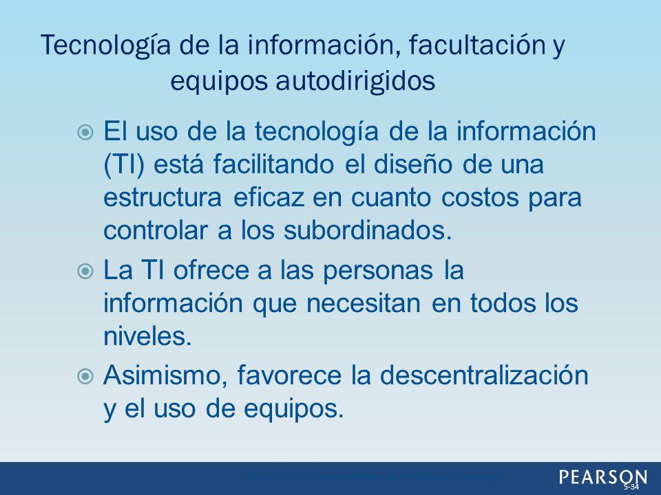 El uso de la tecnología de la información (TI) está facilitando el diseño de una estructura eficaz en cuanto costos para controlar a los subordinados.