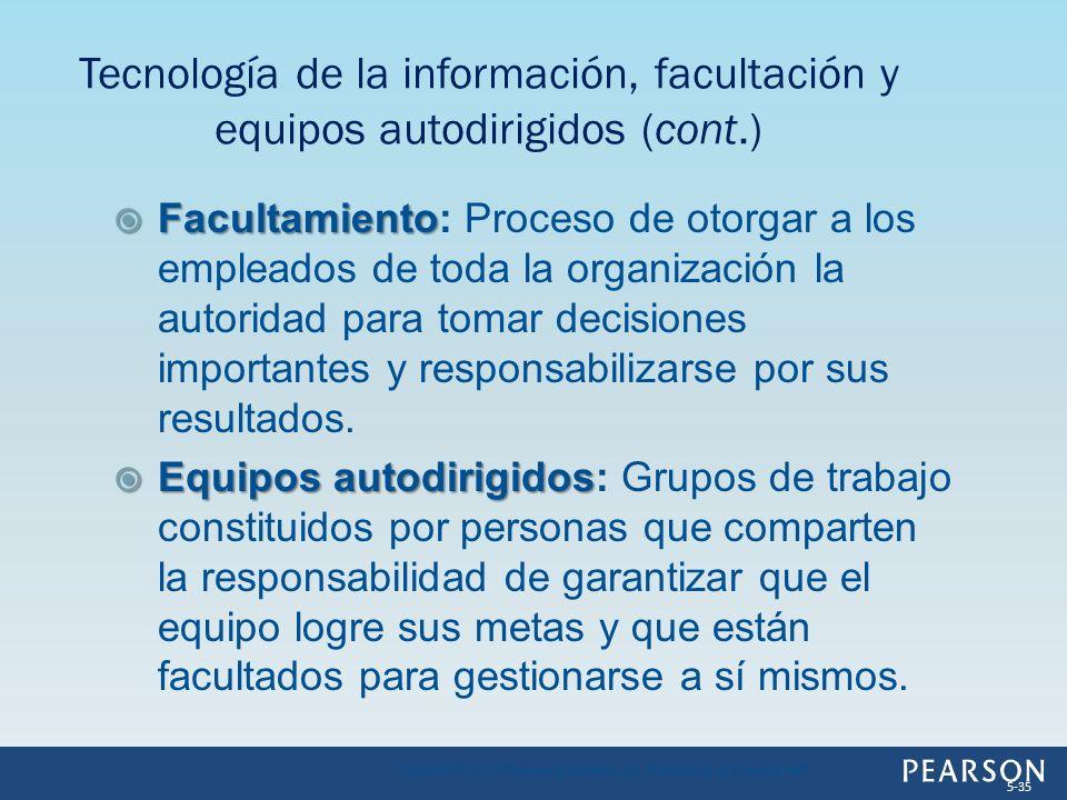 Facultamiento Facultamiento: Proceso de otorgar a los empleados de toda la organización la autoridad para tomar decisiones importantes y responsabiliz