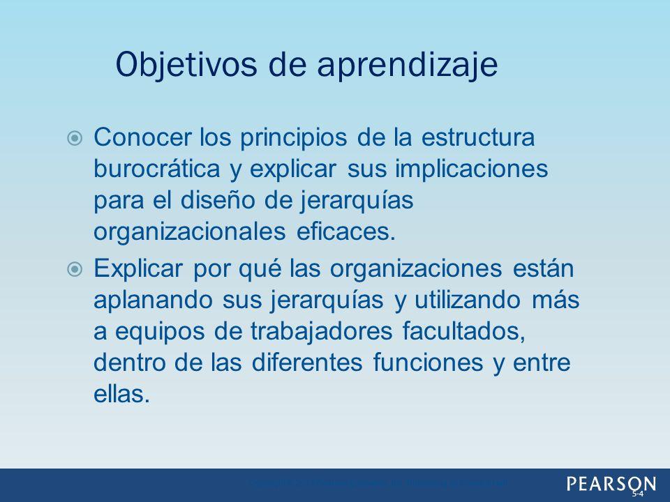Conocer los principios de la estructura burocrática y explicar sus implicaciones para el diseño de jerarquías organizacionales eficaces. Explicar por