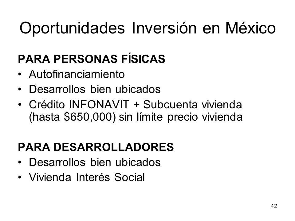 42 Oportunidades Inversión en México PARA PERSONAS FÍSICAS Autofinanciamiento Desarrollos bien ubicados Crédito INFONAVIT + Subcuenta vivienda (hasta