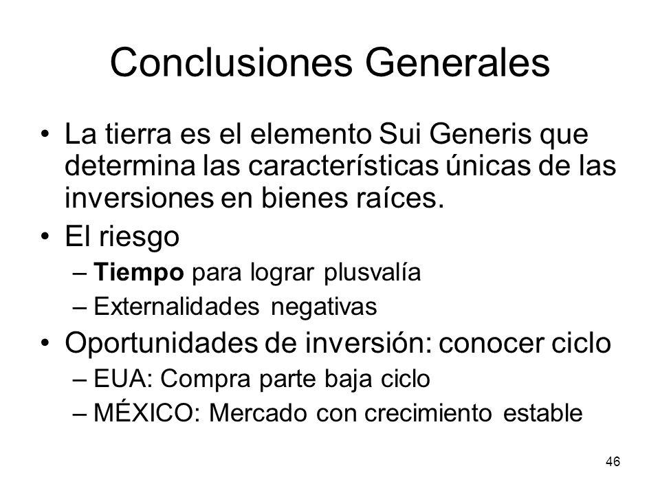46 Conclusiones Generales La tierra es el elemento Sui Generis que determina las características únicas de las inversiones en bienes raíces. El riesgo