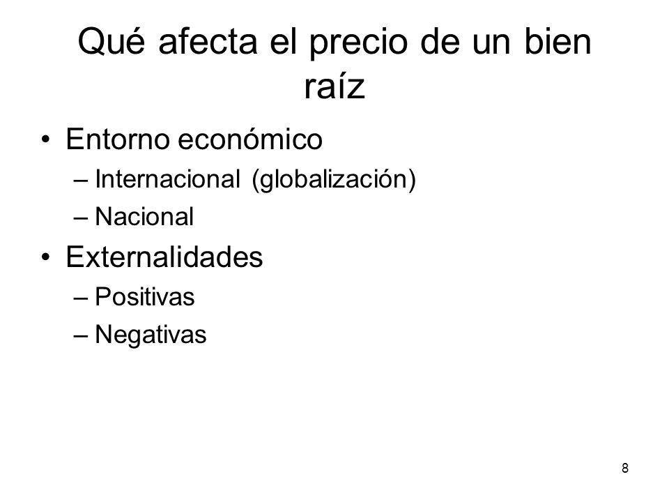 8 Qué afecta el precio de un bien raíz Entorno económico –Internacional (globalización) –Nacional Externalidades –Positivas –Negativas
