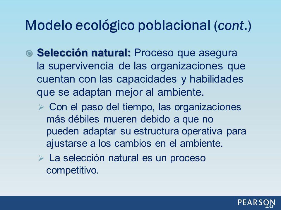 Selección natural: Selección natural: Proceso que asegura la supervivencia de las organizaciones que cuentan con las capacidades y habilidades que se