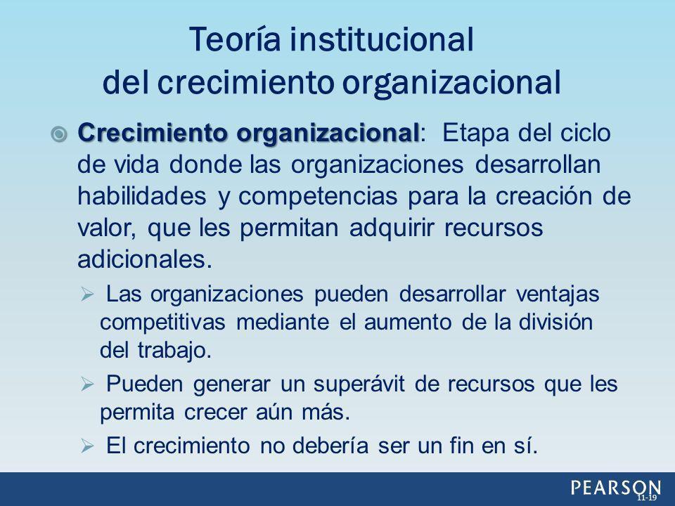 Crecimiento organizacional Crecimiento organizacional: Etapa del ciclo de vida donde las organizaciones desarrollan habilidades y competencias para la
