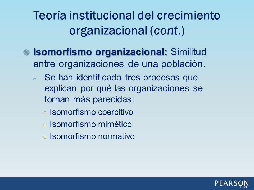 Isomorfismo organizacional: Isomorfismo organizacional: Similitud entre organizaciones de una población. Se han identificado tres procesos que explica