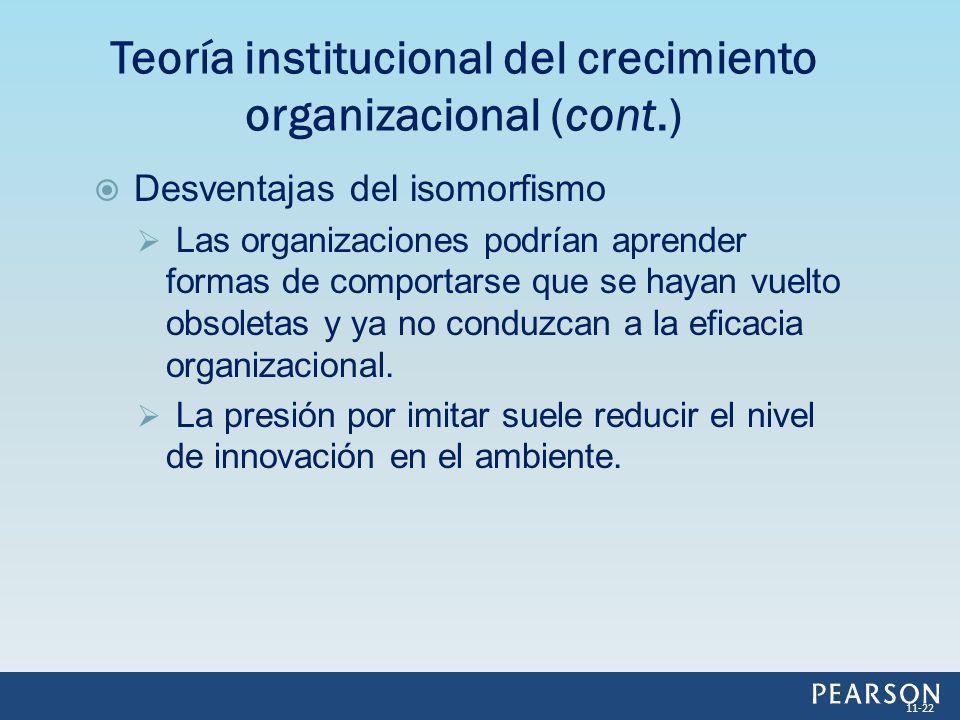Desventajas del isomorfismo Las organizaciones podrían aprender formas de comportarse que se hayan vuelto obsoletas y ya no conduzcan a la eficacia or