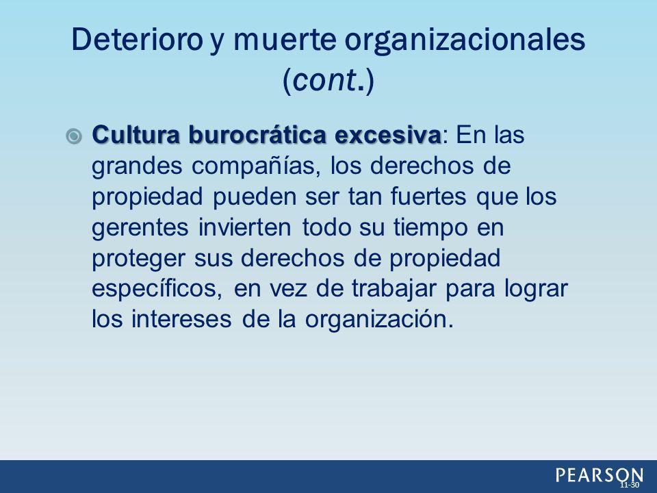 Cultura burocrática excesiva Cultura burocrática excesiva: En las grandes compañías, los derechos de propiedad pueden ser tan fuertes que los gerentes