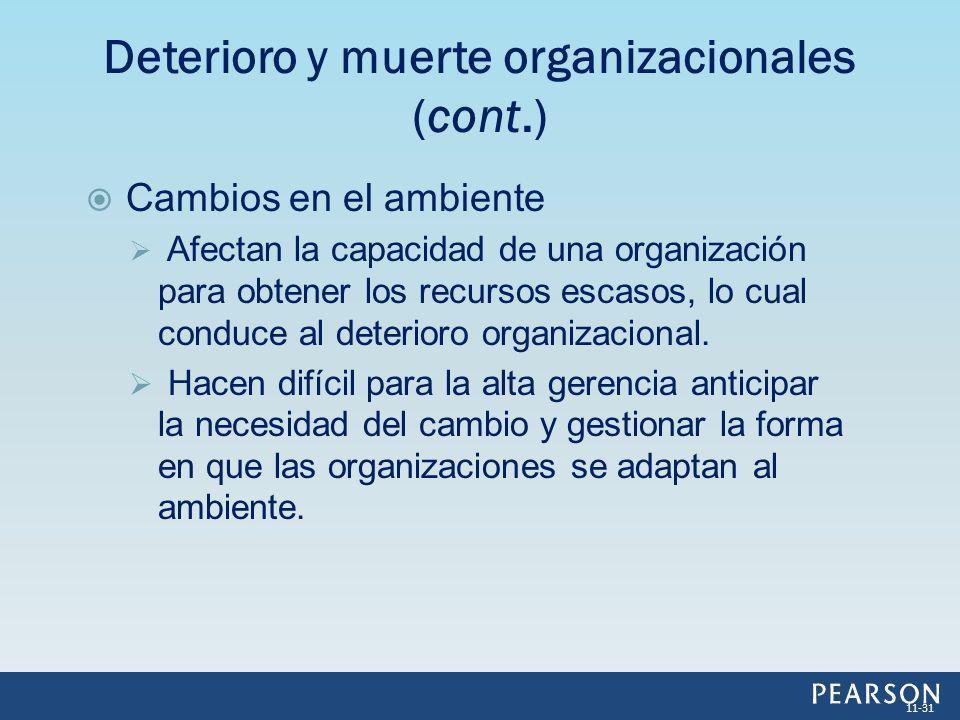 Cambios en el ambiente Afectan la capacidad de una organización para obtener los recursos escasos, lo cual conduce al deterioro organizacional. Hacen
