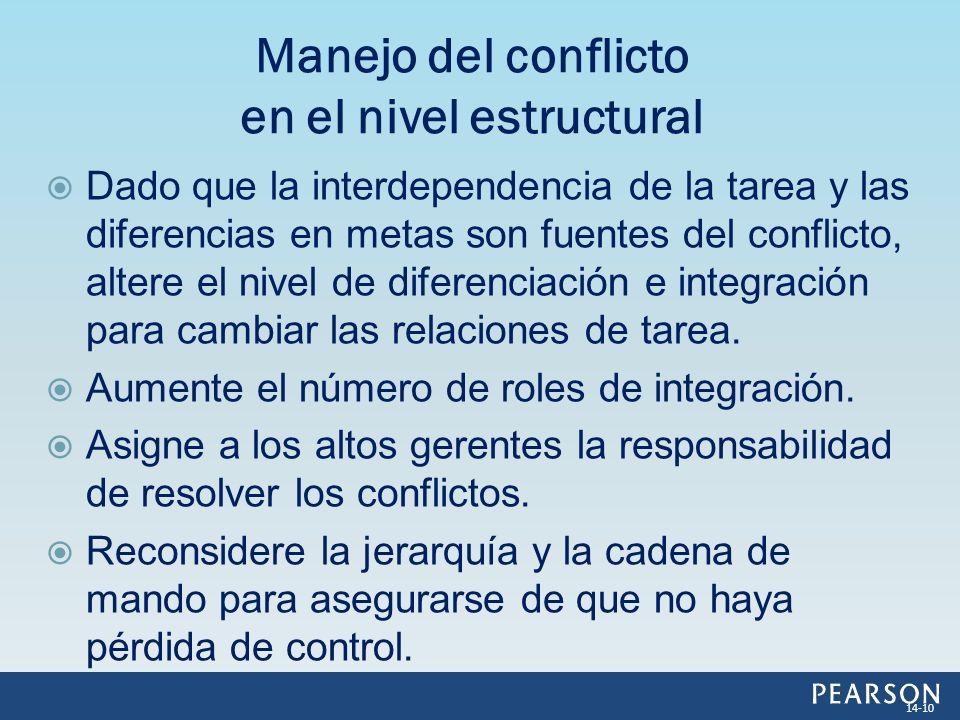 Dado que la interdependencia de la tarea y las diferencias en metas son fuentes del conflicto, altere el nivel de diferenciación e integración para ca