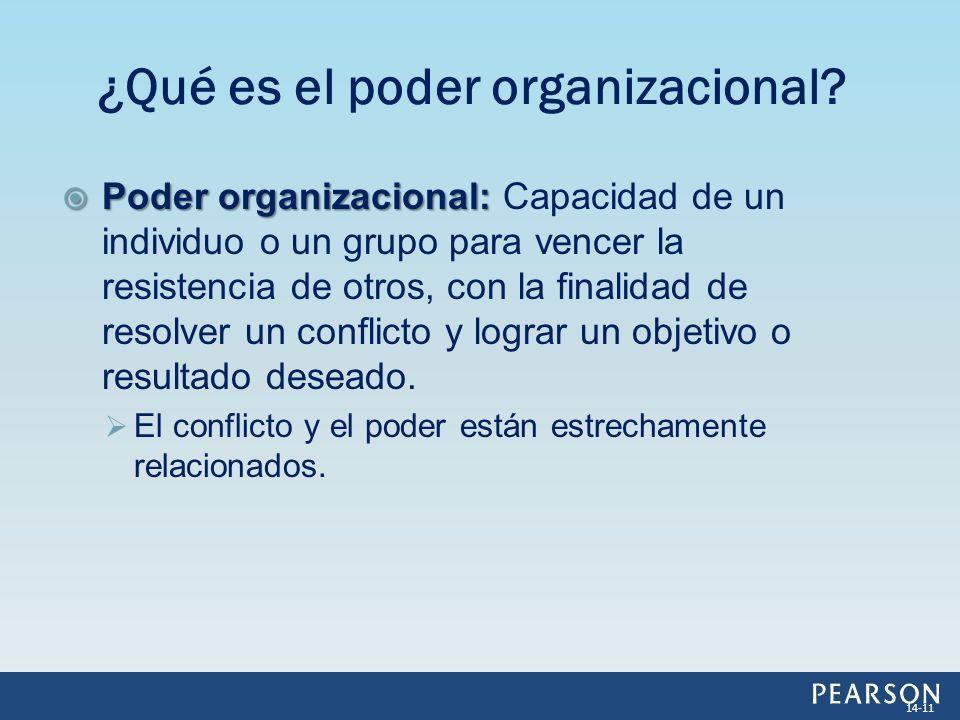 Poder organizacional: Poder organizacional: Capacidad de un individuo o un grupo para vencer la resistencia de otros, con la finalidad de resolver un