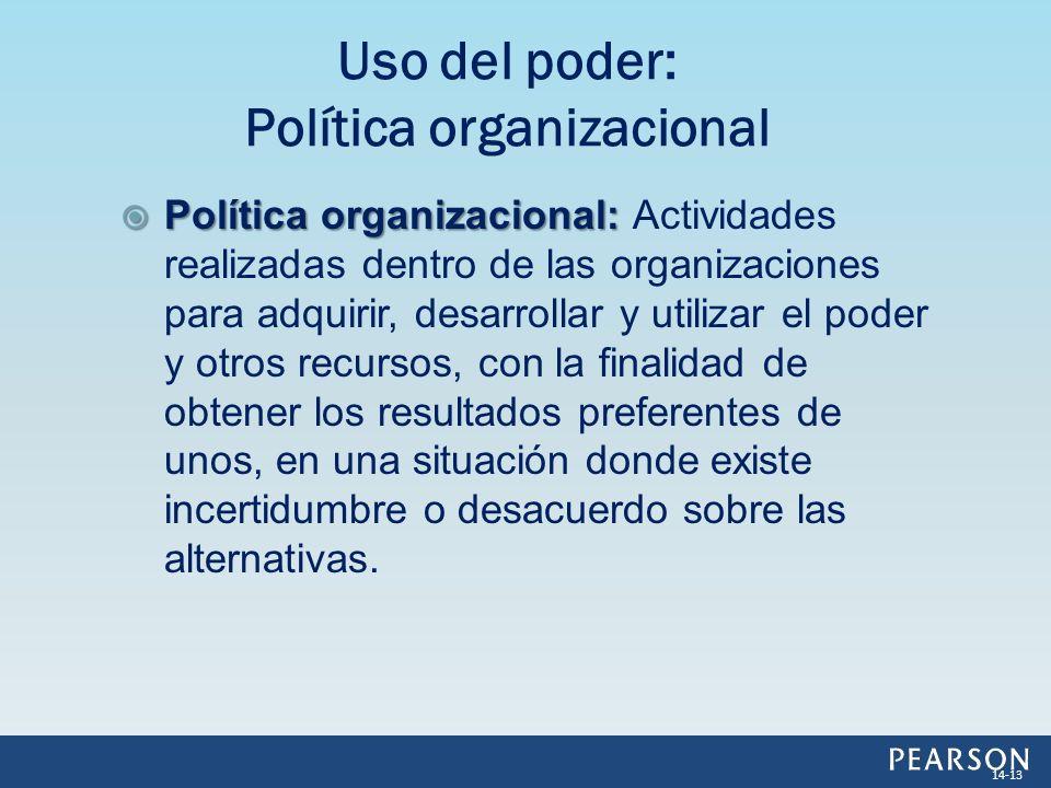 Política organizacional: Política organizacional: Actividades realizadas dentro de las organizaciones para adquirir, desarrollar y utilizar el poder y