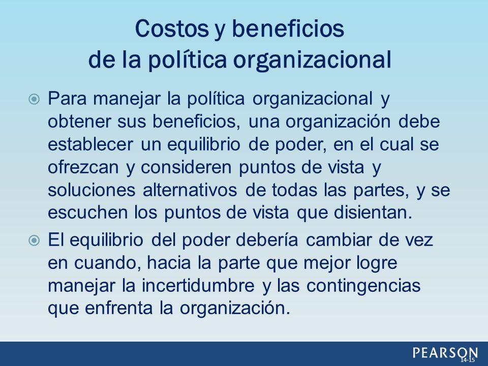 Para manejar la política organizacional y obtener sus beneficios, una organización debe establecer un equilibrio de poder, en el cual se ofrezcan y co