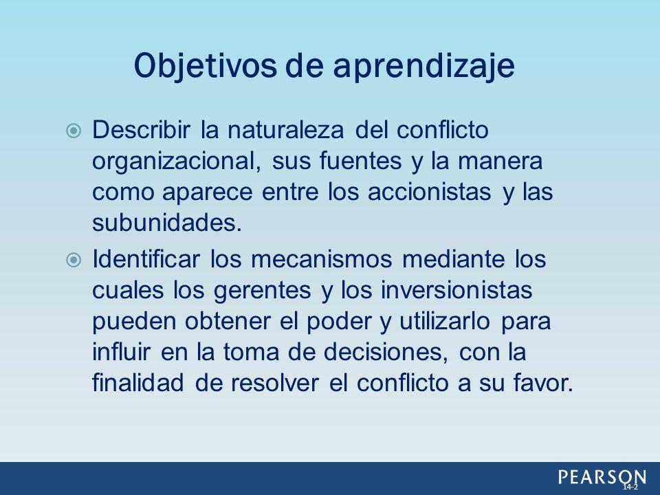Describir la naturaleza del conflicto organizacional, sus fuentes y la manera como aparece entre los accionistas y las subunidades. Identificar los me