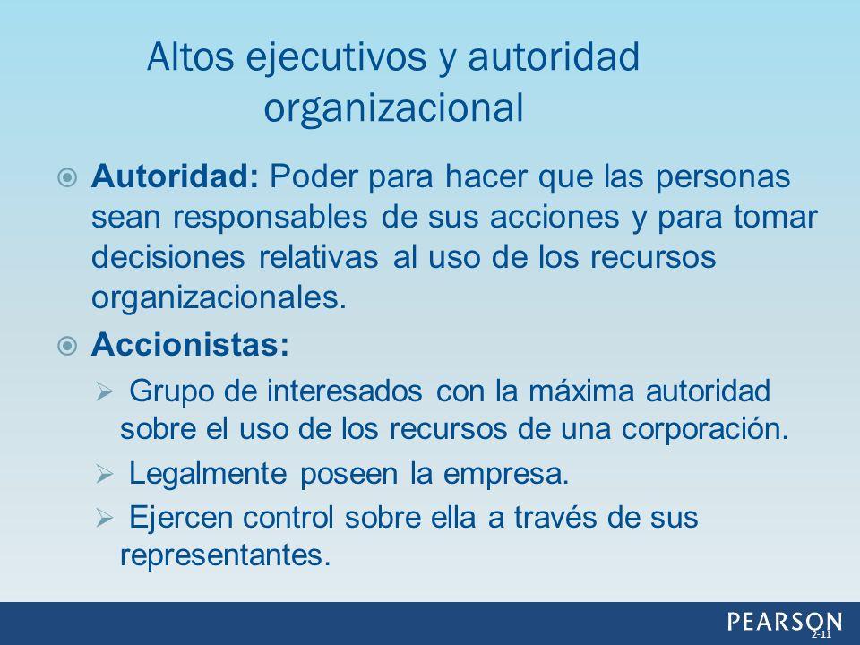 Autoridad: Poder para hacer que las personas sean responsables de sus acciones y para tomar decisiones relativas al uso de los recursos organizacional